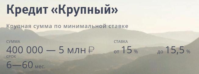 Кредит Крупный от ВТБ позволяет получить до 5 миллионов рублей в долг